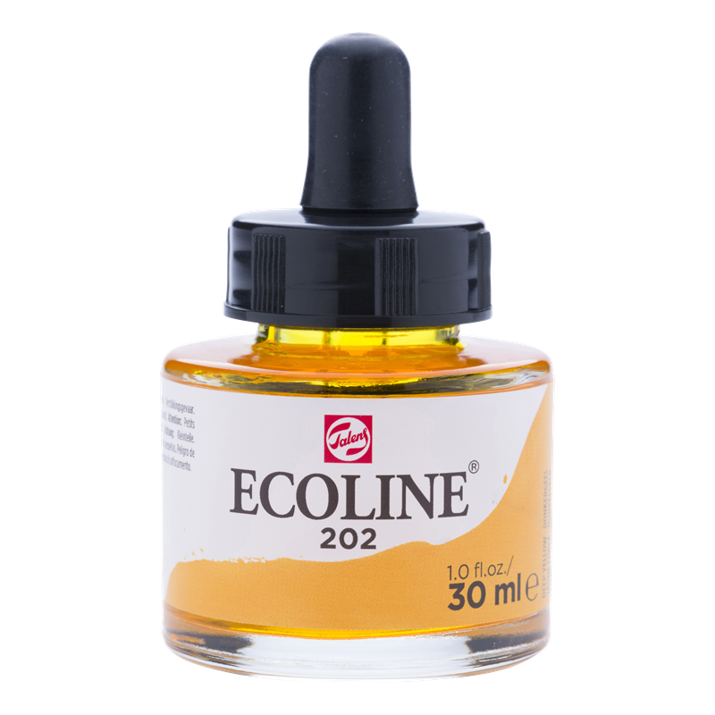 Ecoline Vloeibare Waterverf Flacon 30 ml Donkergeel 202