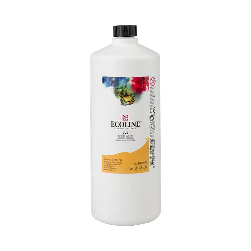 Ecoline Vloeibare Waterverf Flacon 990 ml Donkergeel 202