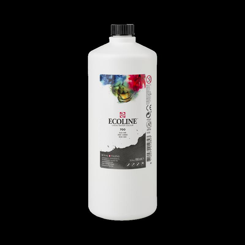 Ecoline Vloeibare Waterverf Flacon 990 ml Zwart 700