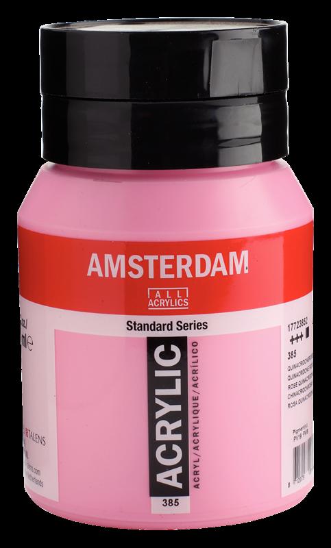 Amsterdam Standard Series Acrylverf Pot 500 ml Quinacridoneroze Licht 385