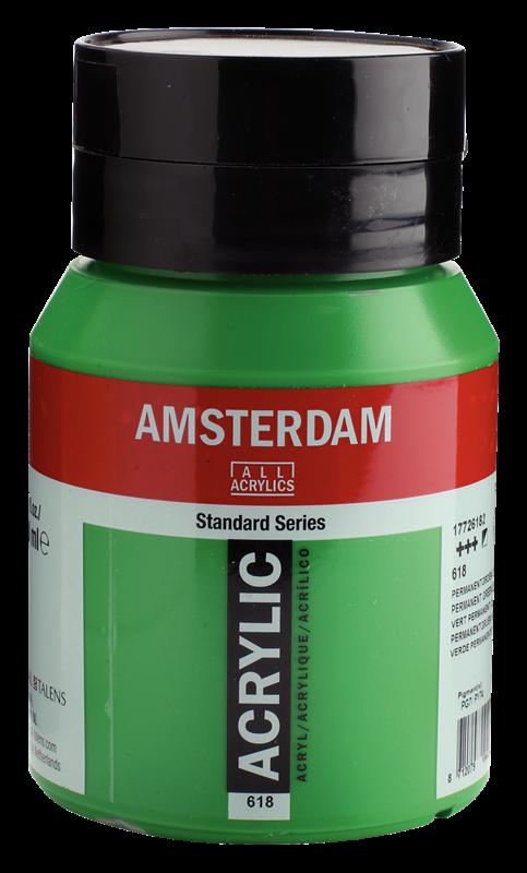 Amsterdam Standard Series Acrylverf Pot 500 ml Permanentgroen Licht 618